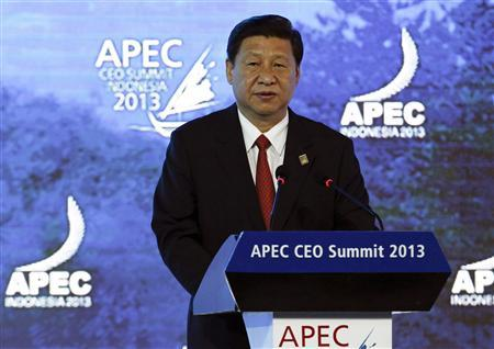 China's President Xi Jinping speaks at the Asia-Pacific Economic Cooperation (APEC) CEO Summit in Nusa Dua, on the Indonesian resort island of Bali October 7, 2013. REUTERS/Edgar Su