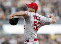 Oct 7, 2013; Pittsburgh, PA, USA; St. Louis Cardinals starting pitcher Michael Wacha throws a pitch against the Pittsburgh Pirates in the 8th inning in game four of the National League divisional series playoff baseball game at PNC Park. Charles LeClaire-USA TODAY Sports