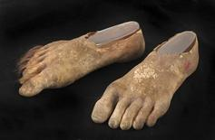 A pair of prosthetic hairy Hobbit feet are shown in this handout photo provided by Julien's Auction in Beverly Hills, California October 7, 2013. REUTERS/Julien's Auctions/Handout via Reuters