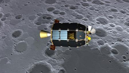 NASA's Lunar Atmosphere and Dust Environment Explorer (LADEE) spacecraft is pictured orbiting near the surface of the moon, in this artist's illustration released by NASA on August 15, 2013. REUTERS/Dana Berry/NASA Ames/Handout via Reuters