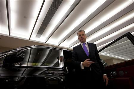 Torsten Mueller Oetvoes, chief executive officer of Rolls-Royce Motor Cars Ltd., attends an interview at a Rolls-Royce showroom in Hong Kong January 11, 2012. REUTERS/Tyrone Siu