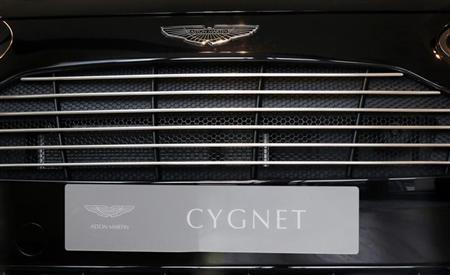 The nameplate of an Aston Martin Cygnet is pictured at a dealership in central London October 8, 2013. REUTERS/Luke MacGregor