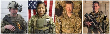 A combination of pictures shows (L-R) Special Agent Joseph M. Peters, 24, 1st Lt. Jennifer M. Moreno, 25, Pfc. Cody J. Patterson, 24, and Sgt. Patrick C. Hawkins, 25, are pictured in this combination photo of undated handout photos released to Reuters on October 8, 2013. REUTERS/U.S. Army/Handout