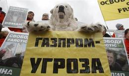 Активист Greenpeace в одеянии, имитирующем белого медведя держит плакат на акции протеста в Москве 5 октября 2013 года. Москва грозит активистам Greenpeace новыми обвинениями REUTERS/Maxim Shemetov