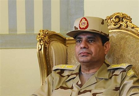 Egypt's Defense Minister Abdel Fattah al-Sisi is seen during a news conference in Cairo on the release of seven members of the Egyptian security forces kidnapped by Islamist militants in Sinai, May 22, 2013.REUTERS/Stringer