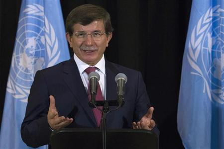 Turkey's Foreign Minister Ahmet Davutoglu speaks during a news conference on the sidelines of the UN General Assembly at UN Headquarters in New York September 26, 2013. REUTERS/Brendan McDermid