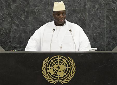 Gambian President Yahya Jammeh addresses the 68th United Nations General Assembly at U.N. headquarters in New York, September 27, 2013. REUTERS/Andrew Burton/Pool