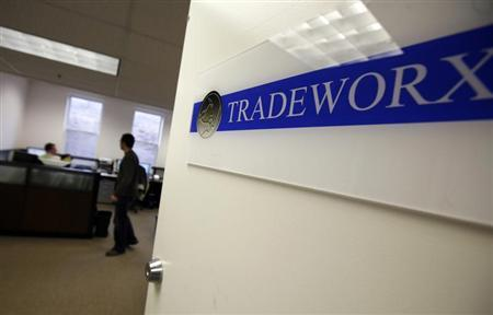 The company logo is seen on the door of the Tradeworx office in Red Bank, New Jersey in this November 17, 2009 file photo. REUTERS/Mike Segar/Files
