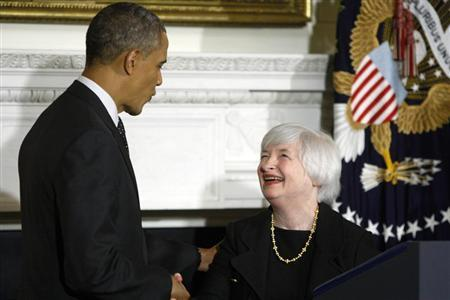 U.S. President Barack Obama (L) shakes hands with Janet Yellen (R) after announcing her nomination to head the Federal Reserve at the White House in Washington October 9, 2013. REUTERS/Jonathan Ernst