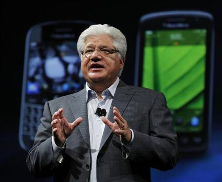 Mike Lazaridis speaks during BlackBerry's DevCon at the Moscone West Center in San Francisco, California, October 18, 2011. REUTERS/Beck Diefenbach/Files