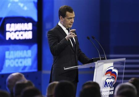 Russian Prime Minister Dmitry Medvedev speaks during the United Russia political party convention in Moscow October 5, 2013. REUTERS/Sergei Karpukhin