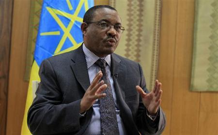 Ethiopian Prime Minister Hailemariam Desalegn speaks during an interview with Reuters inside his office in the capital Addis Ababa, October 10, 2013. REUTERS/Tiksa Negeri