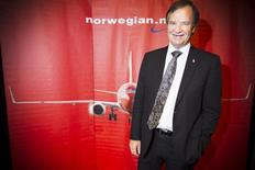 CEO of Norwegian Air Shuttle, Bjoern Kjos, poses at a news conference where he spoke about the low-cost airline's plans to buy 222 new aircraft in Oslo 25 January 2012. REUTERS/Heiko Junge/Scanpix