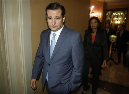 U.S. Senator Ted Cruz (R-TX) departs after a meeting with fellow Republican senators at the U.S. Capitol in Washington, September 30, 2013. REUTERS/Jonathan Ernst