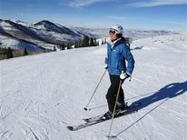 A skier pauses before going down a run at Deer Valley Resort in Park City, Utah in this January 27, 2011, file photo. REUTERS/Larry Rubenstein/Files
