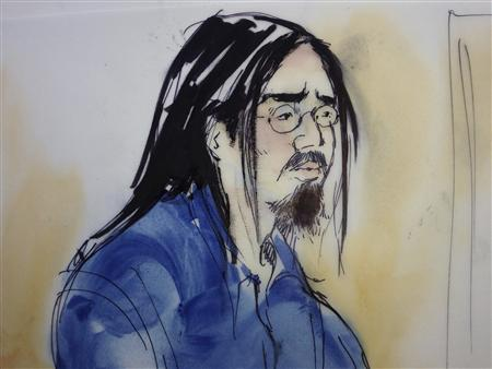 Sinh Vinh Ngo Nguyen, 24, in Garden Grove, Calfornia is shown in this artist's sketch as he makes an initial appearance in United States District Court in Santa Ana, California October 11, 2013. REUTERS/Mona Schafer Edwards