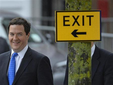 Britain's Chancellor of the Exchequer George Osborne arrives to listen to Prime Minister David Cameron's keynote speech to the Conservative Party annual conference in Manchester, northern England October 2, 2013. REUTERS/Toby Melville