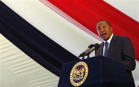 Kenya's President Uhuru Kenyatta addresses the nation during a special Inter-Religious Prayer Service for the people killed and injured in the recent Westgate shopping mall attack in the capital Nairobi October 1, 2013. REUTERS/Thomas Mukoya