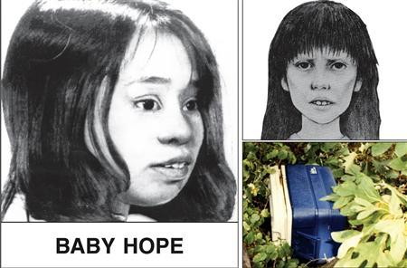 Artist renderings of four-year-old Anjelica Castillo, dubbed ''Baby Hope'', whose body was found in a picnic cooler (bottom R) along Henry Hudson Highway in northern Manhattan in July 1991, are seen in this image from a poster issued by the New York City Police Department (NYPD) when the crime occurred. New York City police have arrested Conrado Juarez, 52, a cousin who confessed to sexually assaulting and then smothering Castillo, police said on October 12, 2013. REUTERS/New York City Police Department/Handout via Reuters