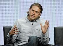 "Cast member Charlie Hunnam speaks at a panel for the television series ""Sons of Anarchy"" during the FX portion of the Television Critics Association Summer press tour in Beverly Hills, California August 2, 2013. REUTERS/Mario Anzuoni"
