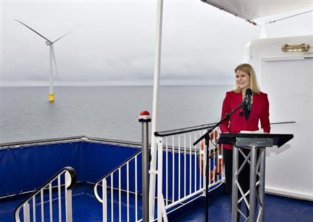 Denmark's Prime Minister Helle Thorning-Schmidt inaugurates the country's biggest offshore wind power farm near the island of Anholt September 4, 2013. REUTERS/Henning Bagger/Scanpix Denmark