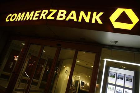 The logo of Germany's Commerzbank is pictured at the bank's headquarters in Frankfurt May 10, 2013. Picture taken May 10, 2013. REUTERS/Lisi Niesner