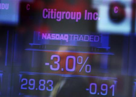Citigroup Inc. stock prices are seen on a screen inside the NASDAQ building at Times Square in New York January 17, 2012. REUTERS/Shannon Stapleton