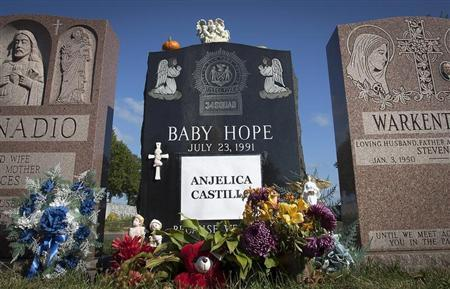 The tombstone of Anjelica ''Baby Hope'' Castillo is seen in the Bronx borough of New York, October 13, 2013. REUTERS/Carlo Allegri