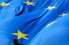 Les ministres des Finances de l'Union européenne se sont accordés mardi sur l'organisation de la supervision des banques dans la zone euro mais l'Allemagne est restée intraitable sur le mécanisme de résolution des crises, deuxième pilier de l'union bancaire. /Photo d'archives/REUTERS/Thierry Roge