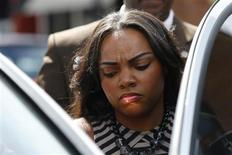 Shayanna Jenkins, fiancee of Aaron Hernandez, a former player for the NFL's New England Patriots football team, leaves the Bristol County Superior Court in Fall River, Massachusetts September 6, 2013, where Hernandez was arraigned on murder and weapons charges in connection with the killing of semi-pro football player Odin Lloyd in June. REUTERS/Brian Snyder