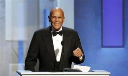 Harry Belafonte speaks as he accepts the Spingarn Award during the 44th Annual NAACP Image Awards at the Shrine Auditorium in Los Angeles, California February 1, 2013. REUTERS/Mario Anzuoni