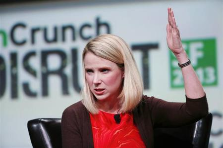 Marissa Mayer, President and CEO of Yahoo!, speaks on stage during a fireside chat session at TechCrunch Disrupt SF 2013 in San Francisco, California September 11, 2013. REUTERS/Stephen Lam/Files