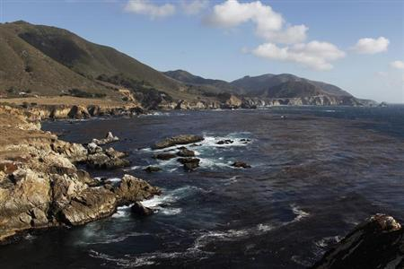 View of the Pacific Ocean, kelp forests and the Rocky Creek Bridge looking south along State Route 1 highway near Big Sur, California, September 17, 2013. REUTERS/Michael Fiala