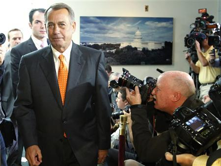 U.S. House Speaker John Boehner (R-OH) departs after a House Republican caucus meeting at the U.S. Capitol in Washington, October 16, 2013. REUTERS/Jonathan Ernst