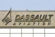 The logo of French airplanes maker Dassault Aviation is seen on Dassault Aviation headquarters before a news conference to present the company's 20011 annual results in Saint Cloud, Paris suburb, in this March 22, 2012 file photo. REUTERS/Benoit Tessier/Files