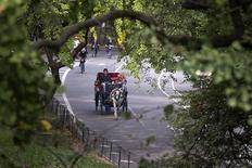 A horse drawn carriage is seen going through Central Park in New York October 16, 2013. REUTERS/Adrees Latif
