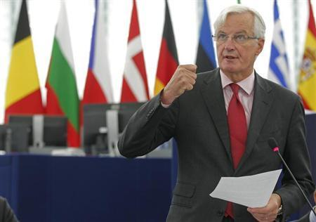 European Commissioner for Internal Market and Services Michel Barnier addresses the European Parliament during a debate on the European Banking Union and the banks supervision in Strasbourg, September 12, 2013. REUTERS/Vincent Kessler