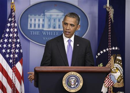 U.S. President Barack Obama speaks to the media in the briefing room of the White House in Washington after the Senate passed the bill to reopen the government, October 16, 2013. REUTERS/Yuri Gripas