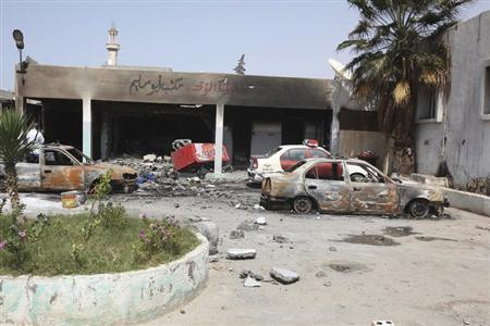 A general view of the scene at the site of clashes between rival militias in Tripoli June 27, 2013. REUTERS/Stringer