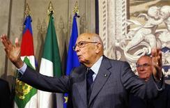Il presidente della Repubblica Giorgio Napolitano al Quirinale. 27 aprile 2013. REUTERS/Alessandro Bianchi