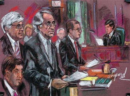 Convicted swindler Bernard Madoff (C) enters his plea of guilty in Manhattan Federal Court in this courtroom drawing March 12, 2009. REUTERS/Shirley Shepard