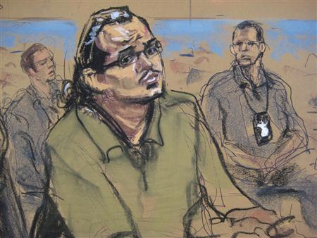 Marcos Alonso Zea, 25, of Brentwood is shown in this court artist's sketch during his arraignment in U.S. District Court in Central Islip, New York October 18, 2013. REUTERS/Jane Rosenburg