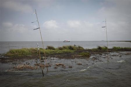 A work boat passes an oiled marshland, one year after the BP Oil Spill, in Bay Jimmy near Myrtle Grove, Louisiana April 20, 2011. REUTERS/Lee Celano