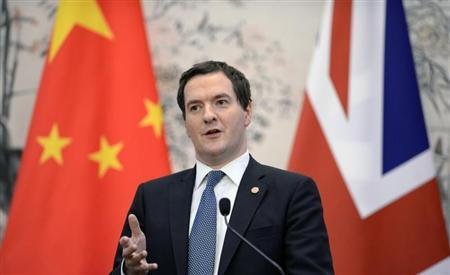 Britain's Chancellor of the Exchequer George Osborne talks during a press briefing at the Diaoyutai Guesthouse in Beijing October 15, 2013. REUTERS/Kota Endo/Pool