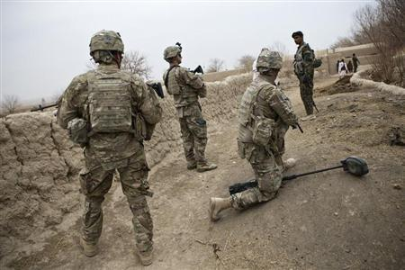 U.S. troops are seen on patrol near Command Outpost AJK (short for Azim-Jan-Kariz, a nearby village) in Maiwand District, Kandahar Province, February 1, 2013. REUTERS/Andrew Burton