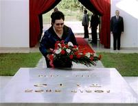 Jovanka Broz, the widow of late former Yugoslav President Josip Broz Tito, lays a wreath at his tomb in a memorial centre in Belgrade in this May 4, 1995 file photo. REUTERS/Stringer/Files