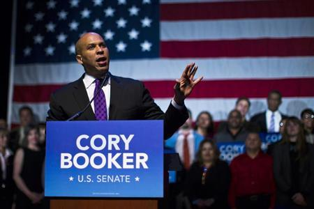 U.S. Senate candidate Cory Booker speaks during his campaign's election night event in Newark, New Jersey, October 16, 2013. REUTERS/Eduardo Munoz