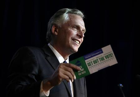 Former DNC chairman Terry McAuliffe speaks at an event to be endorsed by former U.S. Secretary of State Hillary Clinton as Virginia gubernatorial candidate at The State Theatre in Falls Church, Virginia, October 19, 2013. REUTERS/Yuri Gripas