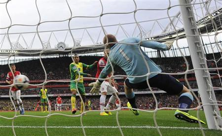 Arsenal's Aaron Ramsey (not pictured) scores a goal past Norwich City goalkeeper John Ruddy (R) during their English Premier League soccer match at the Emirates Stadium in London, October 19, 2013. REUTERS/Toby Melville