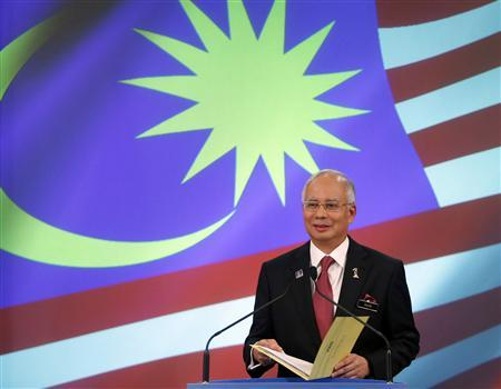 Malaysia's Prime Minister Najib Razak speaks during the announcement of the line-up of his new cabinet ministers at his office in Putrajaya outside Kuala Lumpur, in this file picture taken May 15, 2013. REUTERS/Bazuki Muhammad/Files
